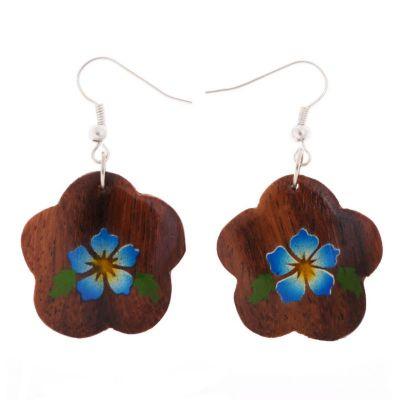 Maľované drevené náušnice Tyrkysové kvety