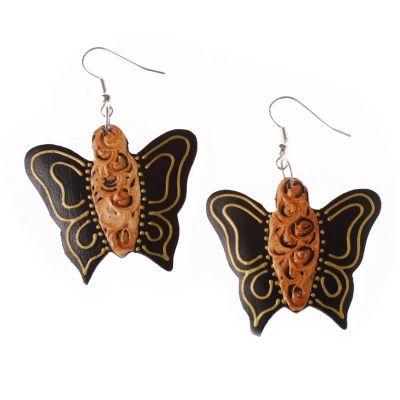 Maľované drevené náušnice Motýliky