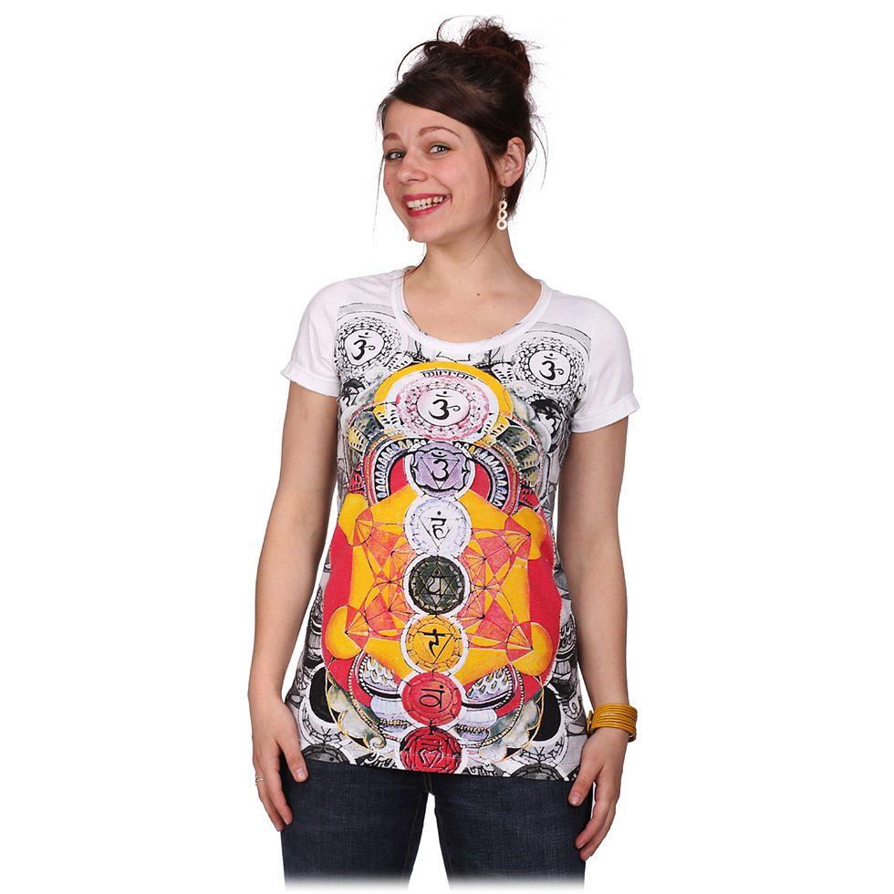 Dámske tričko Mirror s krátkym rukávom Chakras White