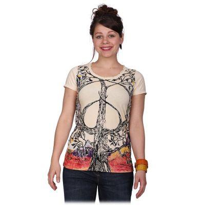 Dámske tričko Mirror s krátkym rukávom Tree of Peace Beige | S, L