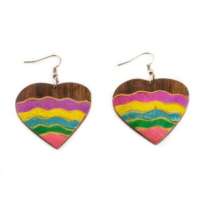 Maľované drevené náušnice Energická láska