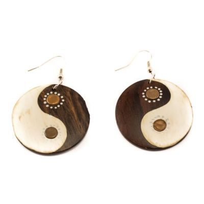Maľované drevené náušnice Yin&Yang - hnedé