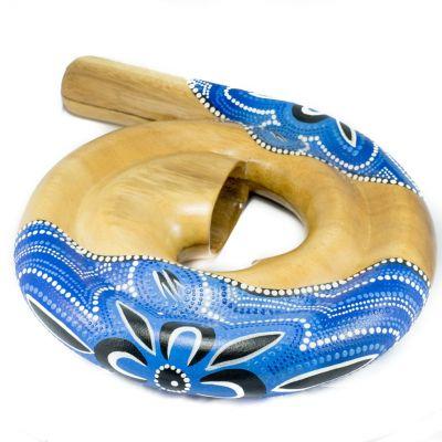 Cestovné didgeridoo v tvare špirály v modrom prevedení