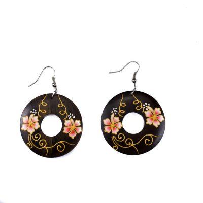 Maľované drevené náušnice Roztomilé kvety - ružové