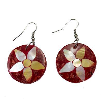 Perleťové náušnice Koralový kvet