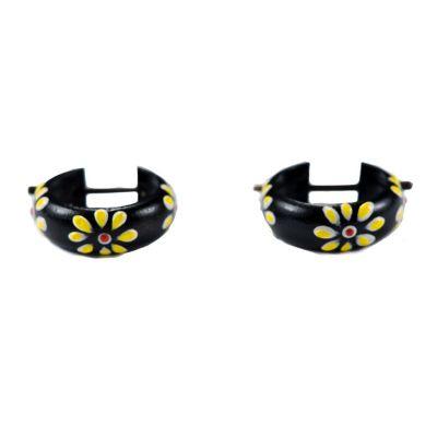 Náušnice Kvetinový krúžok - žltý