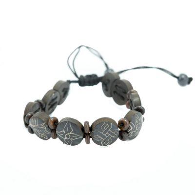 Kostený náramok Aštamangala - okrúhly, čierny, menšie