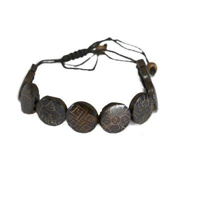 Kostený náramok Aštamangala - okrúhly, čierny, väčšie