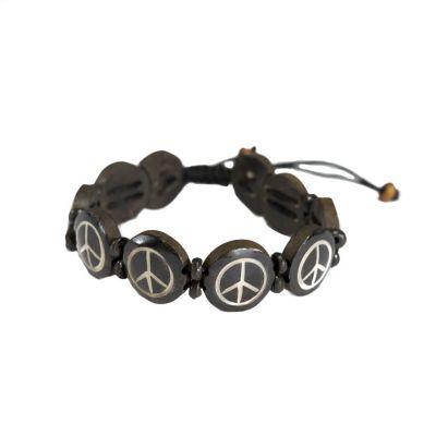 Kostený náramok Peace - čierny