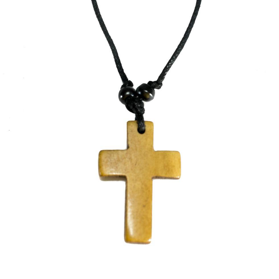 Kostený prívesok Křížek - hnedý, jednoduchý