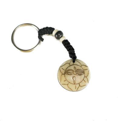 Kostený prívesok na kľúče Buddhove oči v lotosovom kvete