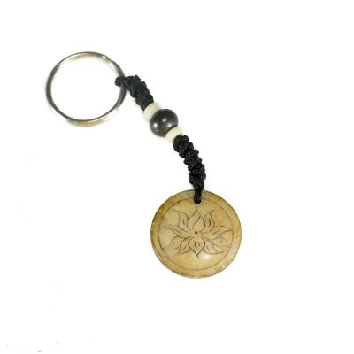 Kostený prívesok na kľúče Lotosový kvet v kruhu