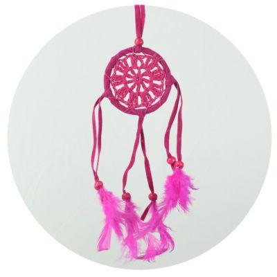 Malinký lapač snov - ružový, háčkovaný