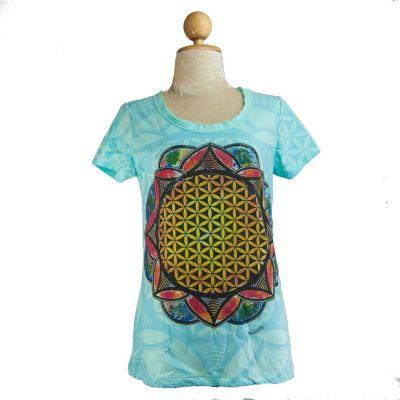 Dámske tričko Mirror s krátkym rukávom Flower of Life Blue | S, M, L, XL