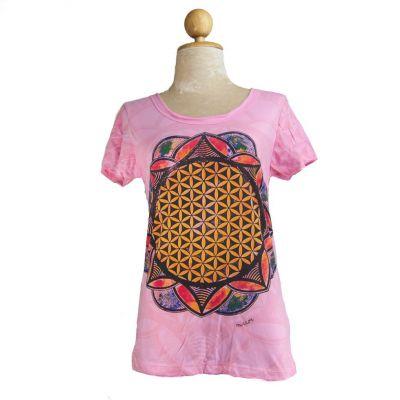Dámske tričko Mirror s krátkym rukávom Flower of Life Pink | S, M, L, XL
