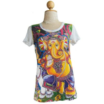 Dámske tričko Mirror s krátkym rukávom Ganapati White | S, M, L, XL