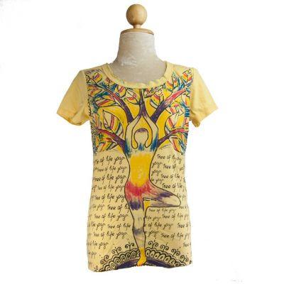 Dámske tričko Mirror s krátkym rukávom Tree of life yoga Yellow | S, M, L, XL