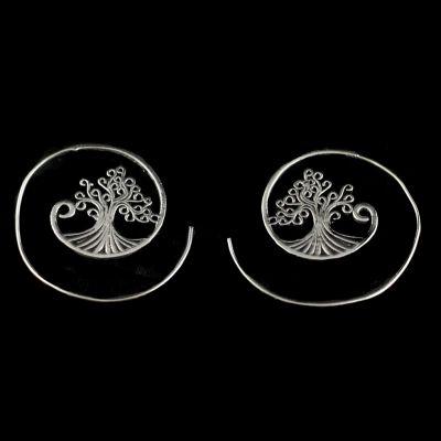 Náušnice z nemeckého striebra Tree 3