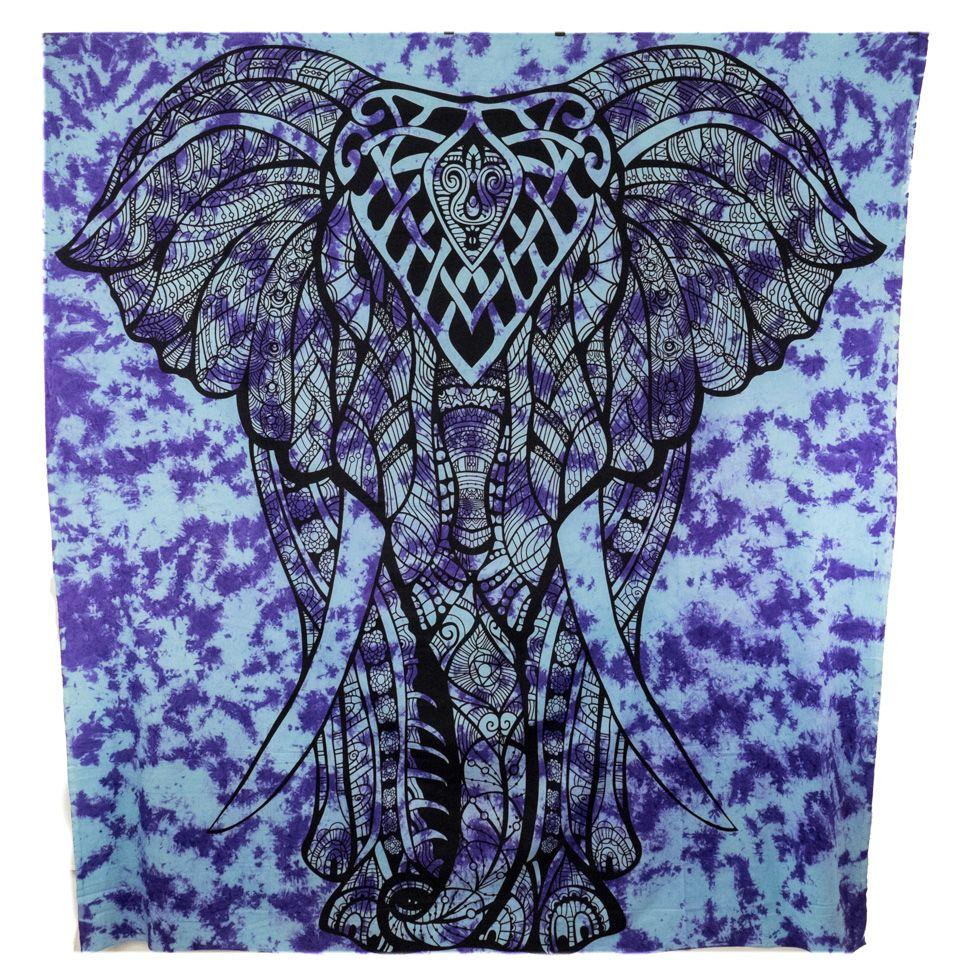 Bavlnený prehoz cez posteľ Veľký slon - fialový India