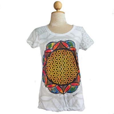 Dámske tričko Mirror s krátkym rukávom Flower of Life White | S, M, XL