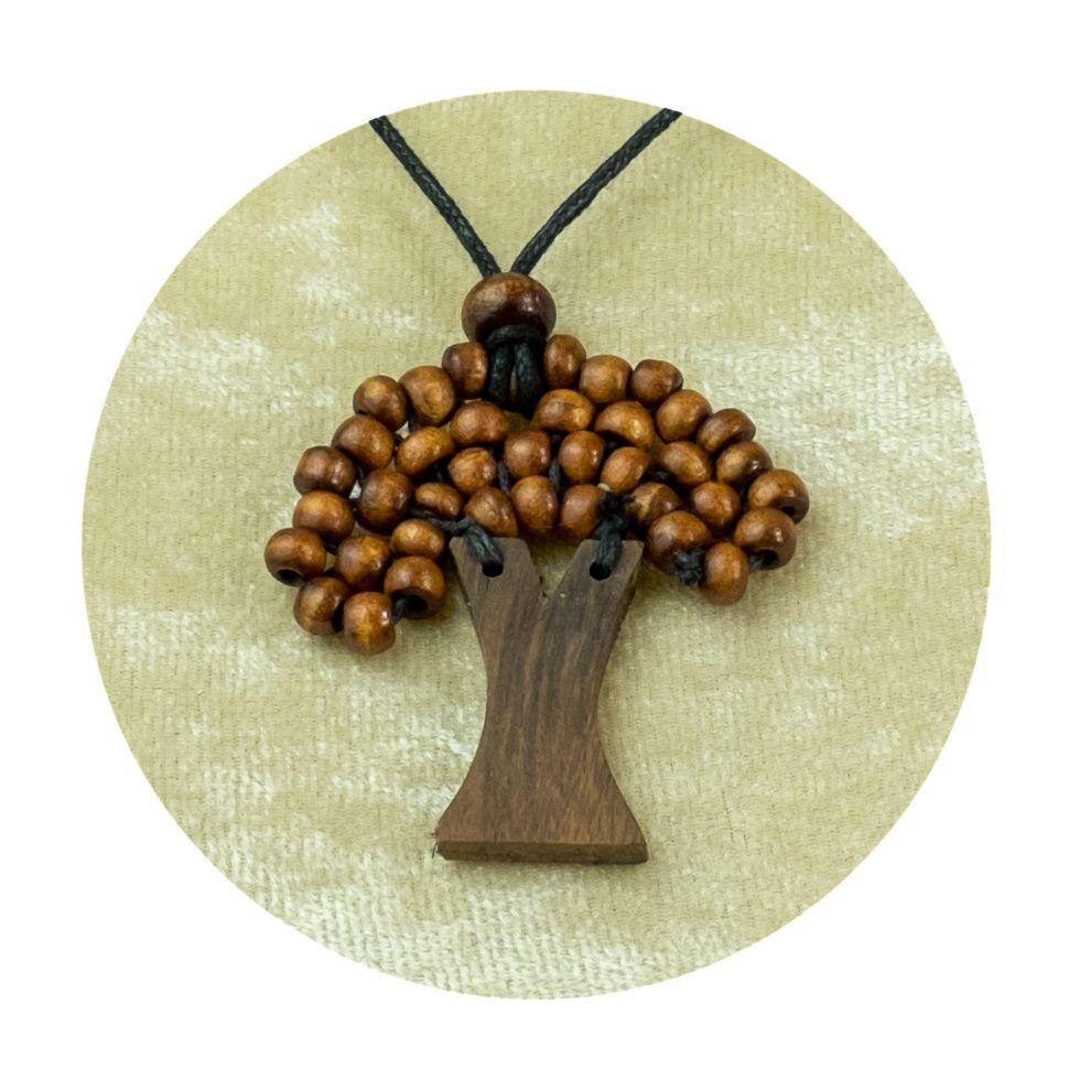 Drevený prívesok Stromček - hnedý