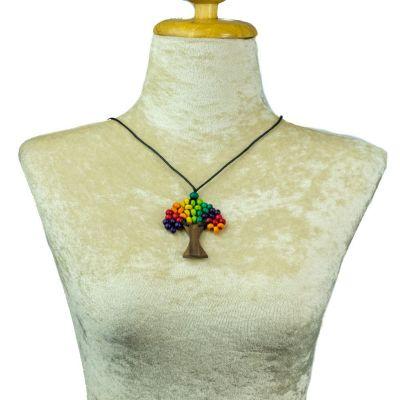 Drevený prívesok Stromček - pestrofarebný