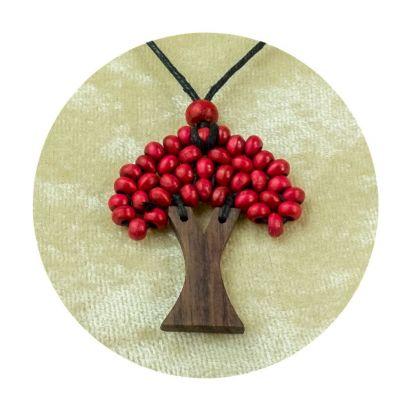 Drevený prívesok Stromček - vínový | veľký