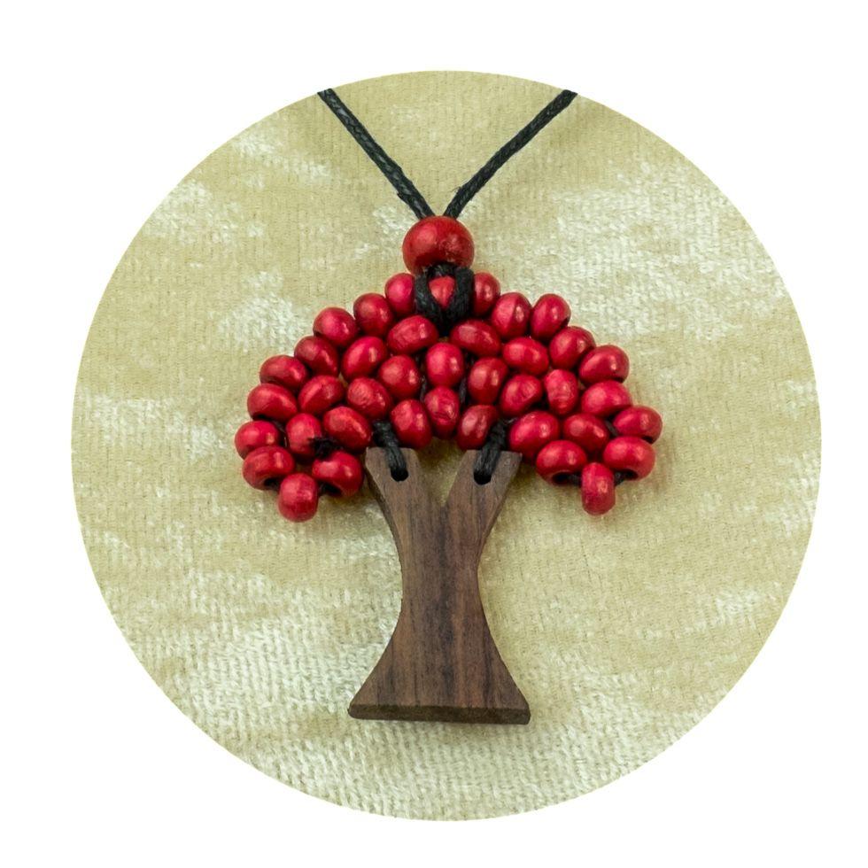 Drevený prívesok Stromček - vínový