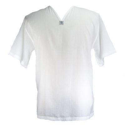 Kurta Lamon White - pánska košeľa s krátkym rukávom | XXXL