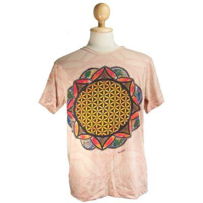 Tričko značky Mirror - Flower of Life Beige | M, L, XL, XXL