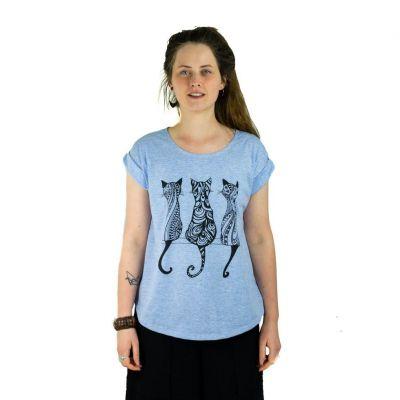 Dámske tričko s krátkym rukávom Darika Cats Bluish | UNI