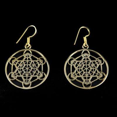 Mosadzné náušnice Hexagram Geometry