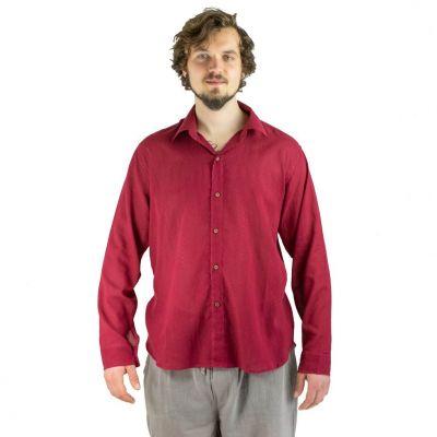 Pánska košeľa s dlhým rukávom tombolu Burgundy | M, L, XL, XXL, XXXL
