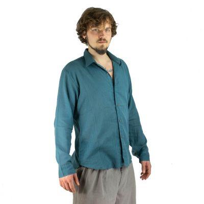 Pánska košeľa s dlhým rukávom tombolu Teal Blue | M, L, XL, XXL, XXXL
