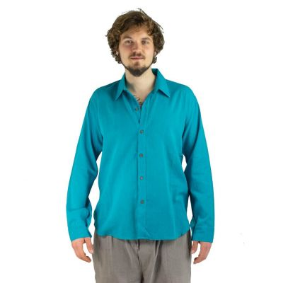 Pánska košeľa s dlhým rukávom tombolu Turquoise | M, L, XL