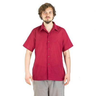 Pánska košeľa s krátkym rukávom Jujur Burgundy | M, L, XL, XXL, XXXL