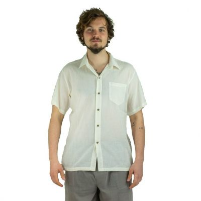 Pánska košeľa s krátkym rukávom Jujur Cream | M, L, XL, XXL, XXXL