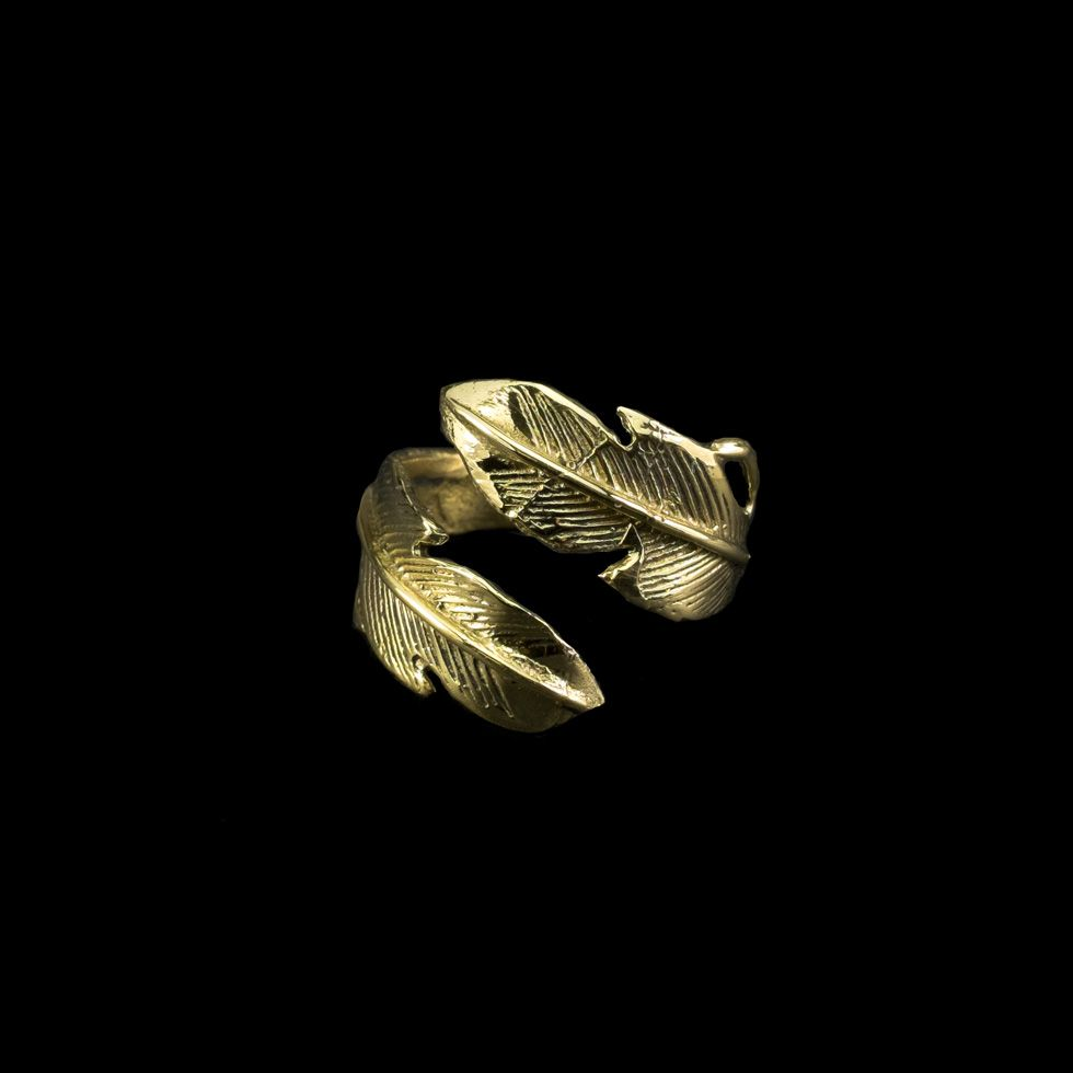 Mosadzný prsteň Feather