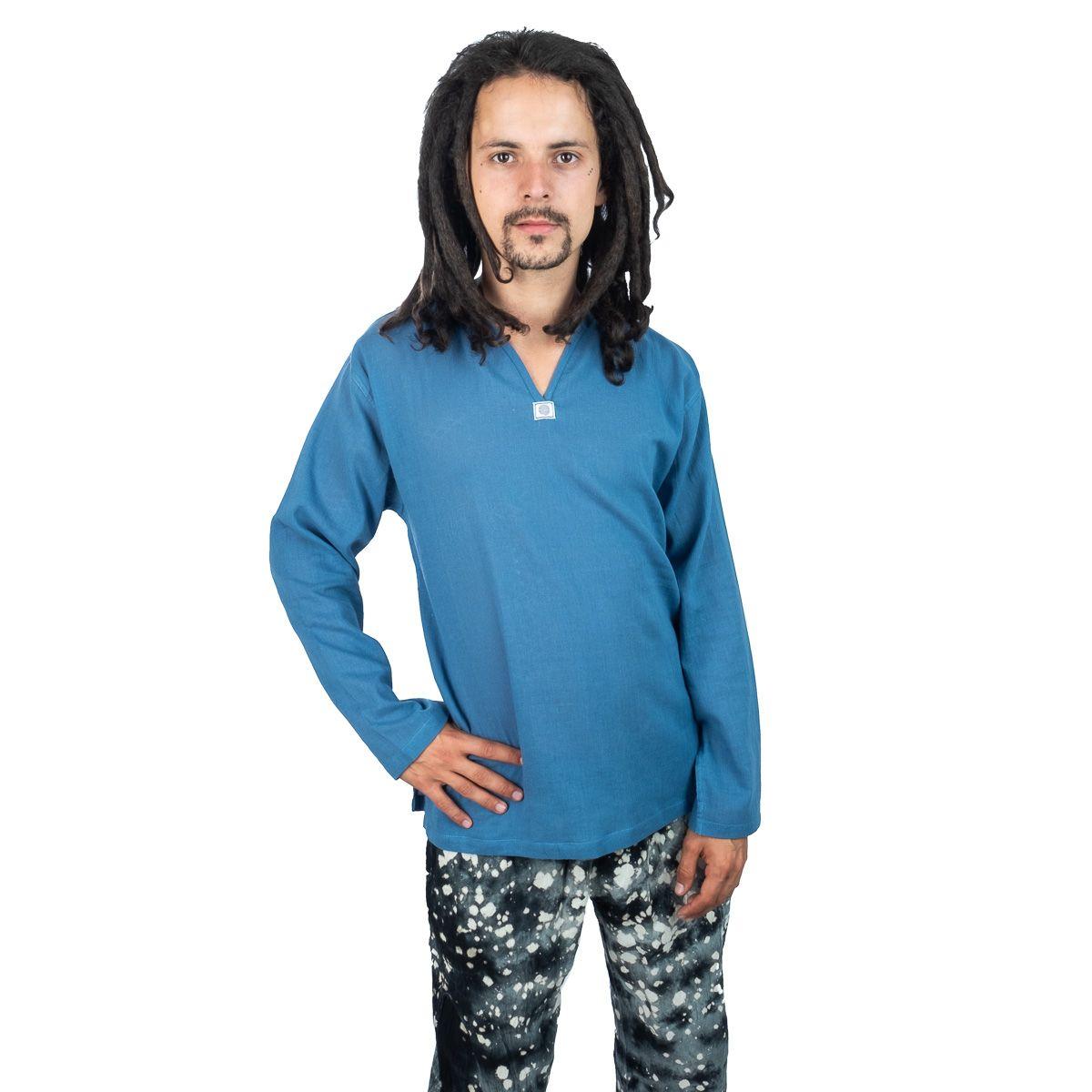 Kurta Abiral Blue - pánska košeľa s dlhým rukávom Thailand