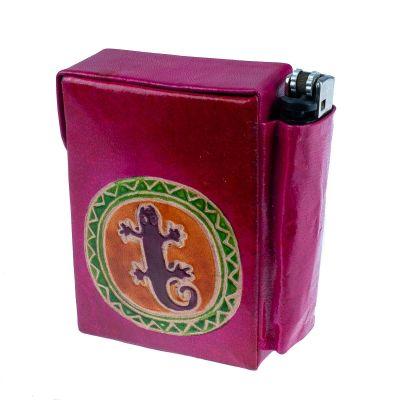 Puzdro na cigarety a zapaľovač Jašterica - ružové
