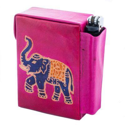 Puzdro na cigarety a zapaľovač Slon - ružové