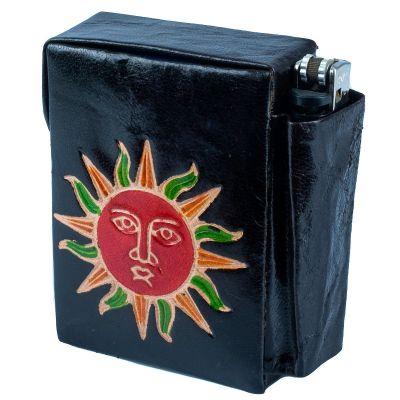Puzdro na cigarety a zapaľovač Slnko - čierne