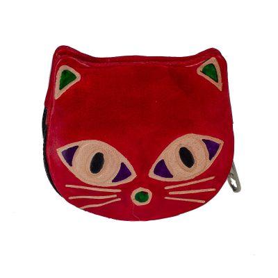 Kožená peňaženka Mačička - červená