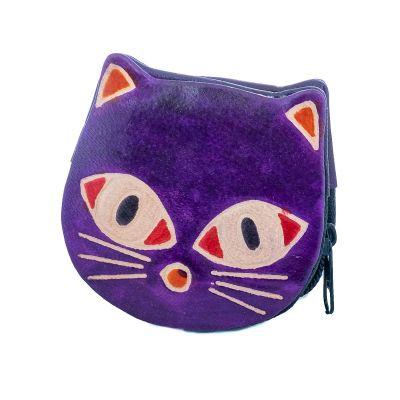 Kožená peňaženka Mačička - fialová