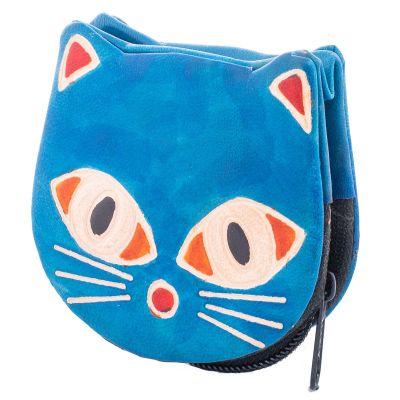Kožená peňaženka Mačička - modrá