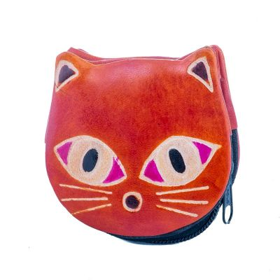 Kožená peňaženka Mačička - oranžová