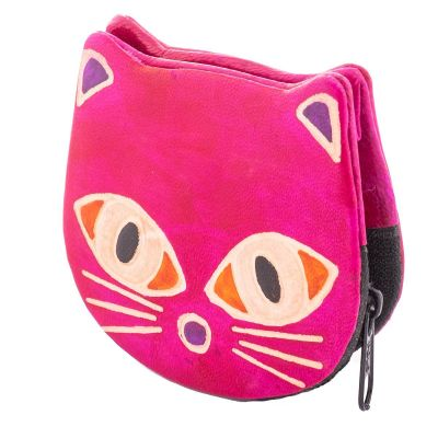 Kožená peňaženka Mačička - ružová