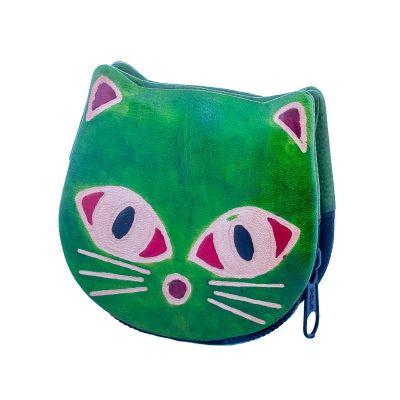 Kožená peňaženka Mačička - zelená