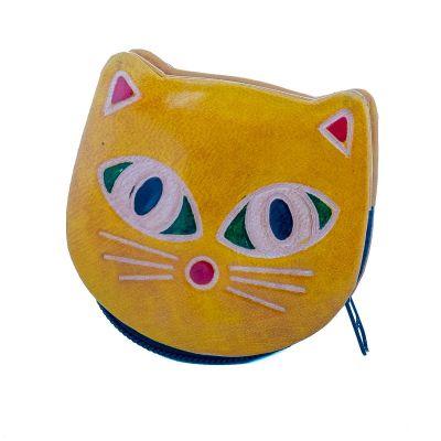 Kožená peňaženka Mačička - žltá