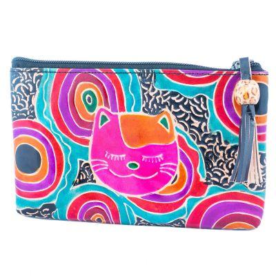 Kožená peňaženka Mačka - čierna
